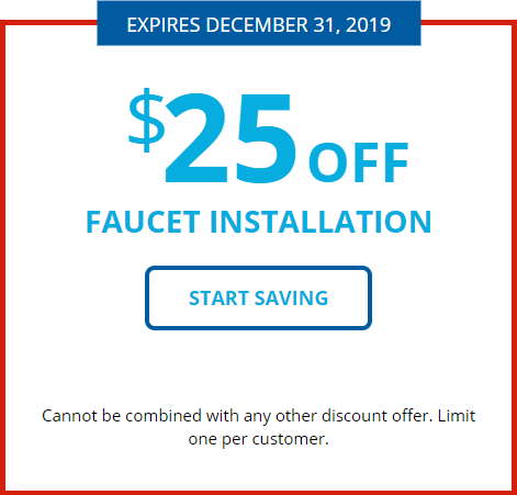 Faucet installation coupon